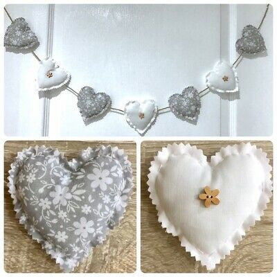 Handmade Fabric Shabby Chic Love Heart Garland Bunting Grey White