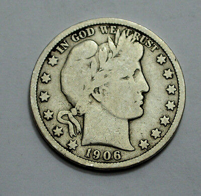 1906-D Barber Silver Half Dollar COIN silver, 50C, Better Date Old US Coin!