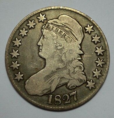 1827 CAPPED BUST SILVER HALF DOLLAR, CHOICE EXTRA FINE, Square Base 2, 50c