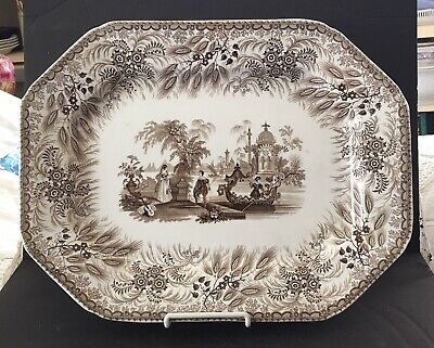 LOVELY Antique BROWN TRANSFERWARE PLATTER THE BOSPHORUS  R. HALL Staffordshire