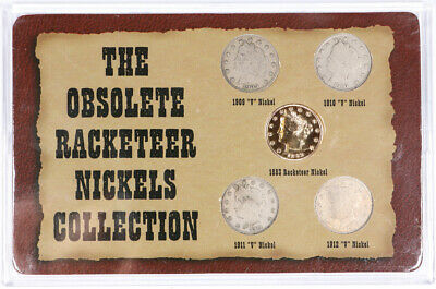 Obsolete Racketeer Nickels 5 Coin Collection 5c Liberty V-Nickel