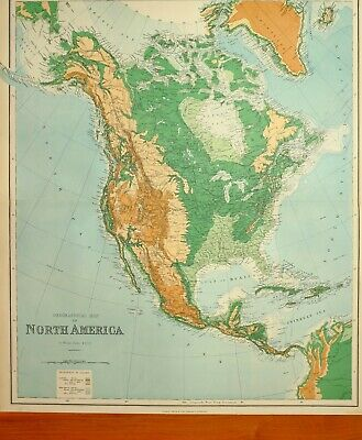 1902 Large Antique Map North America Orographical Land Heights West Indies