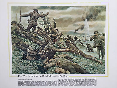 """National Guard Heritage D-Day Normandy World War II """"First Wave at Omaha"""" Poster"""