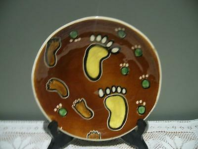 Vande Pottery Hand Painted Dish - Footprints - MEA Marlene Adams - Collectable