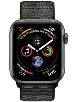 Apple Watch Series 4 40mm Aluminiumgehäuse in Space Grau Sport Loop in Schwarz
