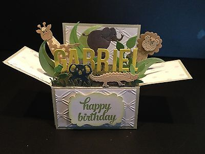 Handmade 3D birthday card in a box -Jungle animals, PERSONALISED