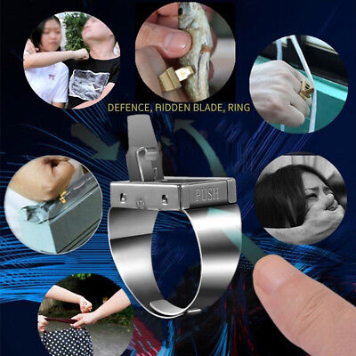 Mini Blade Hidden Weapon Multifunction Women/Man Self-defense Finger Ring Metal