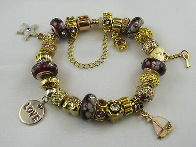 "STERLING SILVER PLATED GOLDEN 20cm EURO STYLE CHARM BRACELET ""DELUXE GOLD"" #1655"