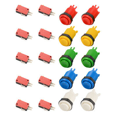 10pcs Arcade Gaming Microswitch Round Push Buttons Set Kit for MAME JAMMA AC892