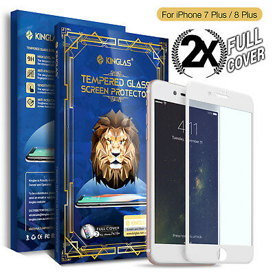 2 X Kinglas iPhone 7 8 Plus Full Cover Tempered Glass Screen Protector for Apple