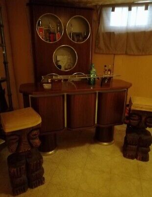 Amazing Pair Of Mid Century Brutalist Witco Carved God Tiki Bar Gmtry Best Dining Table And Chair Ideas Images Gmtryco