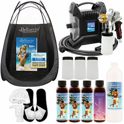ULTRA PRO PLUS Sunless Airbrush Spray Tanning System Dk Belloccio Solution Tent