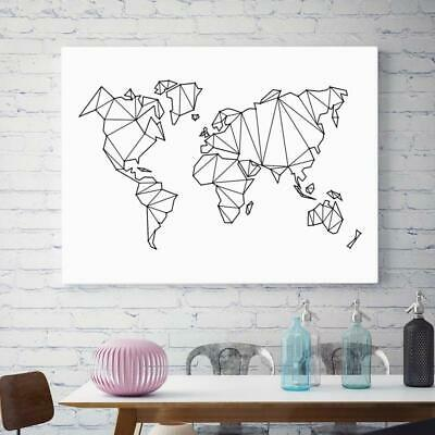 Abstract Geometric World Map Canvas Painting Nordic Posters And Prints Wall Art