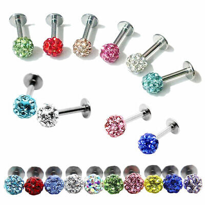 Tragus Ring Steel Piercing Crystal Stud Lip Bar Ball CZ Labret Surgical Monroe