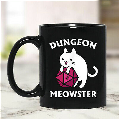 DUNGEON Cat Lovers Meowster Dungeon Mug Black 11oz Ceramic Coffee Tea Cup Gift