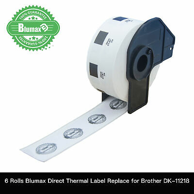 6x Blumax Rolls Compatible for Brother DK-11218 Round Label for QL700 QL800