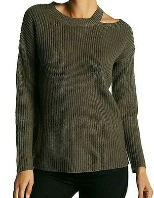 914244f2a50ee1 RDI Sweater Small Olive Green Ribbed Cut Out Long Sleeve Crewneck Pullover  S New