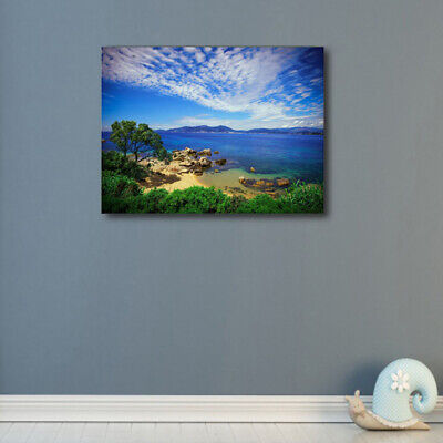 Blue Sea Beach Trees Canvas Art Oil Painting HD Print Modern Home Wall Decor