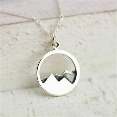 Gift Fashion Mountain Hollow Silver Round Shape Pendant Women Necklace Chain