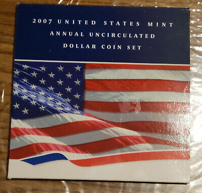 2007 U.S. Mint Annual Uncirculated Dollar Coin Set, with  2007 American Eagle