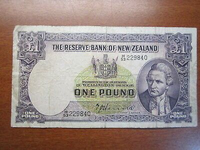 One Pound Bank Note Pre Decimal Hanna  New Zealand