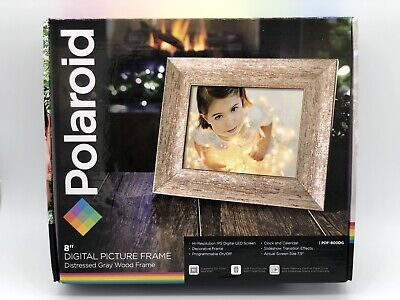 "Polaroid 8"" Digital Picture Frame Distressed Gray Wood New In Original Packaging"
