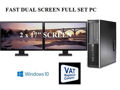 "Cheap Fast HP Core Full System 17"" Dual Monitor Desktop Computer PC Windows 10"