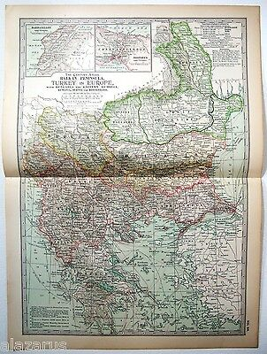 Original 1902 Map of Turkey in Europe & The Balkans by The Century Company