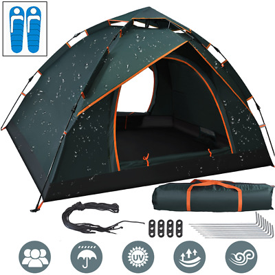 2~3 Person Instant Pop Up Double Layer Beach Tent Waterproof Camping Outdoor UK