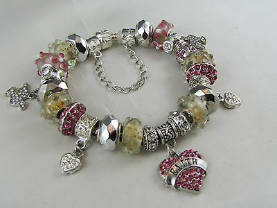 "BEAUTIFUL 925 SILVER STAMPED 20cm EUROPEAN STYLE CHARM BRACELET   "" FAITH """