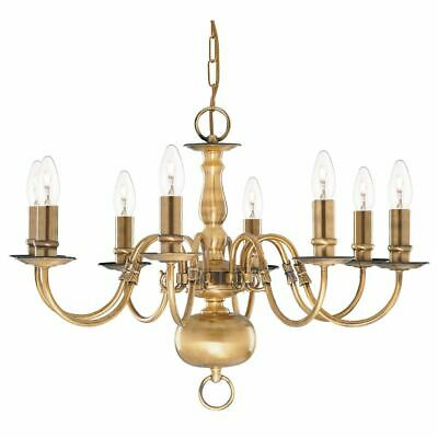 Searchlight FLEMISH 8 lounge chandeliers LIGHT ANTIQUE BRASS UK FITTING 1019-8AB
