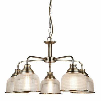 Searchlight BISTRO II-5 LIGHT CEILING, ANTIQUE BRASS Chandelier Light With Chain