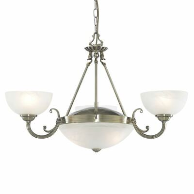 Searchlight WINDSOR 5 LIGHT ANTIQUE BRASS FITTING-MARBLE GLASS 3775-5AB