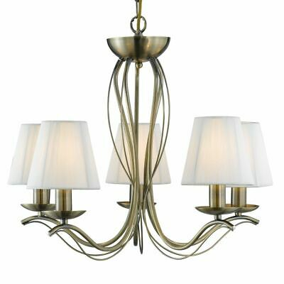 Searchlight 5 LIGHT ANTIQUE BRASS FITTING - CREAM STRING SHADES 9825-5AB