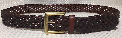 Talbots Women's Leather Belt Woven Braided Brown W Gold Solid Brass Buckle Sz L