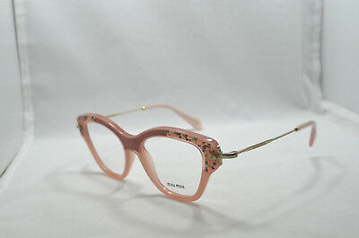 f507b2f891 MIU MIU EYEGLASSES VMU 07O U6S-1O1 52-17 Gold Grey   Teal Leather ...