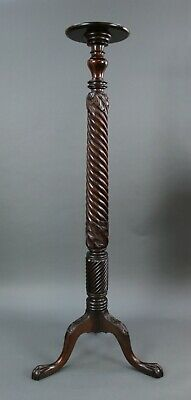 Tall English Carved Mahogany Victorian Twisted Stem Torchère