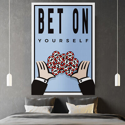 "Motiv-Art ""Bet on Yourself - Monopoly Wall Art"" Monopoly Wall Art / Motivational"