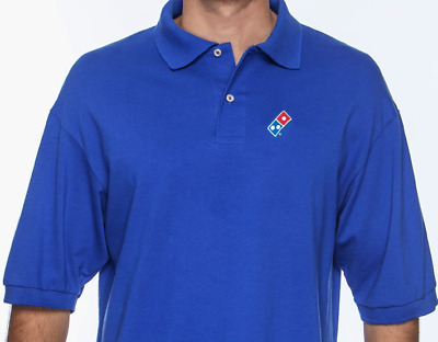 Dominos Pizza EMBROIDERED LOGO golf polo shirt Royal Blue XL