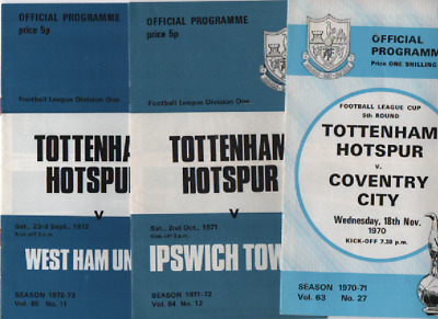 Tottenham Hotspur Spurs HOME programmes 1970/71 1971/72 1972/73 League & Cup