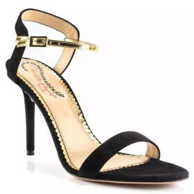 """Charlotte Olympia Black Gold """"Quintessential """" Suede Leather Ankle Buckle Sandal"""