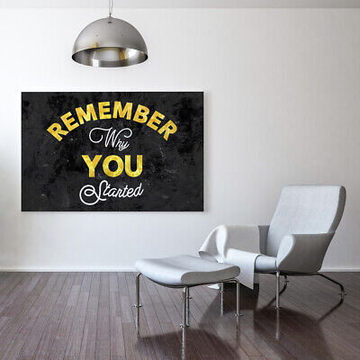 """Motiv-Art """"Remember Why You Started"""" Inspirational Quotes on Canvas, Motivationa"""