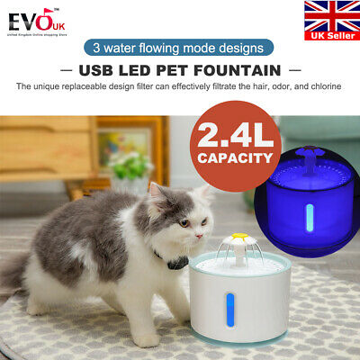 2.4L USB LED Automatic Electric Pet Water Fountain Cat/Dog Drinking Dispenser