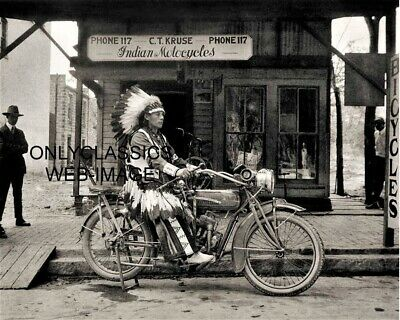 Vintage Indian Motorcycle C T Cruise Dealership 8X10 Photo Chief Poses On Cycle