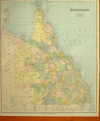 1902 Large Antique Map Queensland Cape York Peninsula Kennedy Churchill Rogers