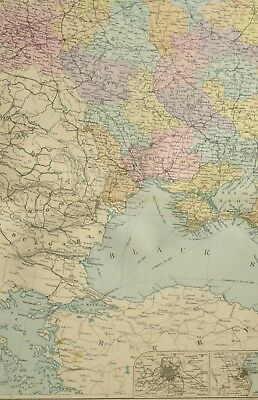 1891 Antique Map South West Russia Moscow Odessa Poltava
