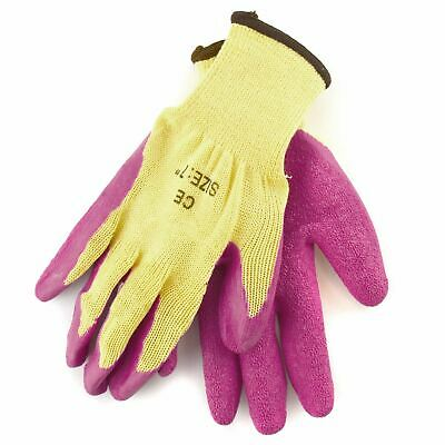"7"" Builders Protective Gardening DIY Latex Rubber Coated Work Gloves Pink"