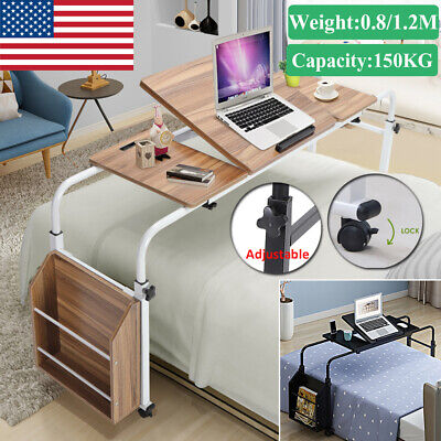 Multifunction Adjustable Over Bed Computer Table Desk W Storage