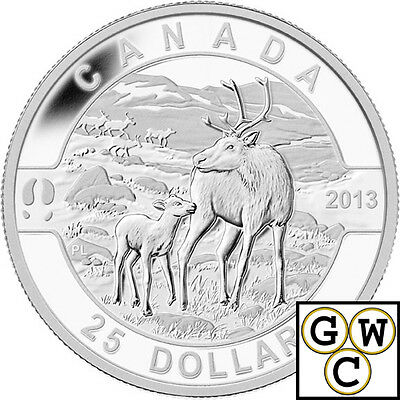 2013 'Caribou - O Canada' Proof $25 Silver Coin .9999 Fine (NT)(13148) (OOAK)