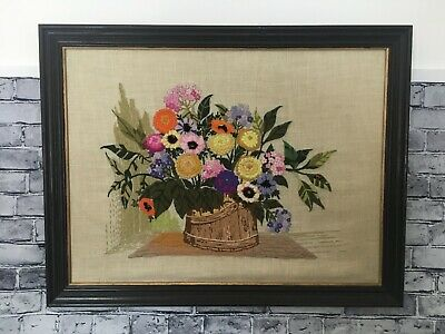 "Large Vintage Finished Crewel Embroidery Framed Floral 27"" W x 21"" T"